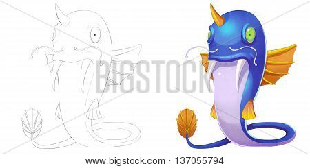 Cat Fish Creature with Wings. Coloring Book, Outline Sketch, Monster Mascot Character Design isolated on White Background