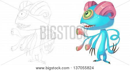 Double Horn Sheep Demon Creature. Coloring Book, Outline Sketch, Monster Mascot Character Design isolated on White Background