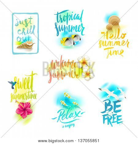 Set of summer holidays and tropical vacation greeting designs with handwritten calligraphy. Vector illustration.