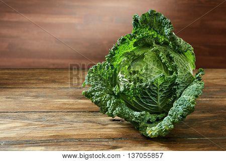 Single head of Savoy cabbage