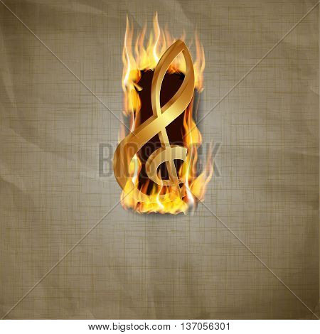 Vector illustration of old paper background with a fiery explosion and a gold treble clef.