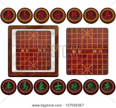3D Chinese Chess Board and Piece Set. Text in Board: River, Border; Text in Pieces from Left to Right:Chariot,Horse,Elephant, Adviser,General,Cannon,Soldier. Game Assets.