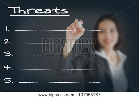 Beautiful businesswoman writing list of business weakness threats