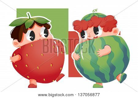Watermelon Boy and Strawberry Girl. Child Story Digital CG Artwork, Concept Illustration, Greeting Card, Realistic Cartoon Style Background
