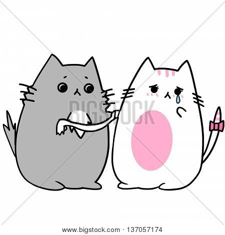Two Lover Cats' Memories: Persuade and Comfort Her to Not Cry When She is Sad. Creative Idea, Innovative art, Concept Illustration, Greeting Card, Cartoon Style Artwork