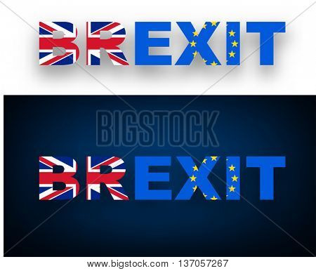 Brexit banner with British and European Union flags. Vector illustration.