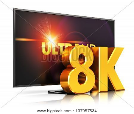 3D render illustration of 8K UltraHD resolution TV cinema or computer PC monitor display isolated on white background with reflection effect