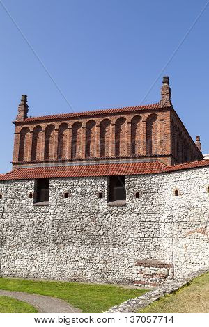 Defensive wall of old synagogue in jewish district of Krakow - Kazimierz on Szeroka street Poland