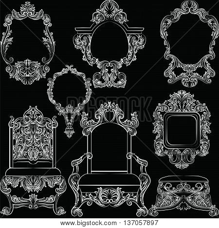 Set of Baroque Vintage Decoration Frames and Furniture. Flourishes Royal Rich Ornaments and Frames. Retro Style Collection for Cards Invitations Banner Poster Badges Logotypes Placards