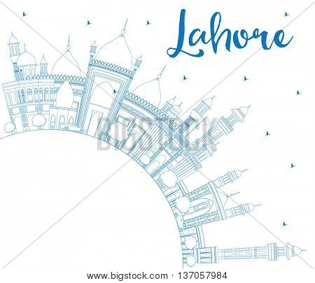 Outline Lahore Skyline with Blue Landmarks and Copy Space. Business Travel and Tourism Concept with Historic Buildings. Image for Presentation Banner Placard and Web.