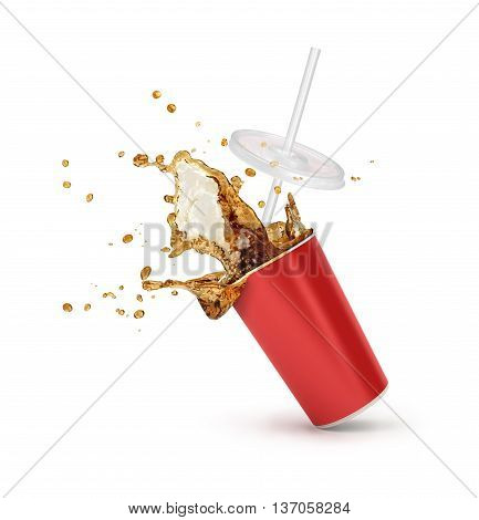 Red Paper cup with cola splash isolated. vector illustration.