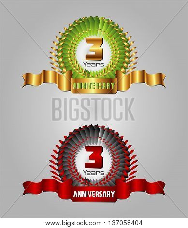3 years anniversary laurel wreath vector set