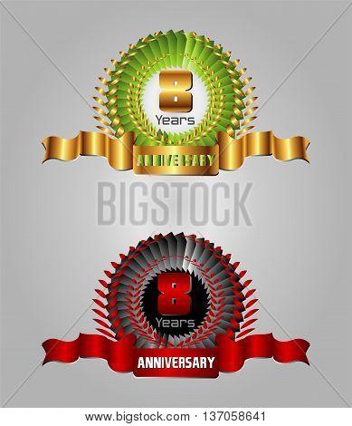 8 year anniversary golden label, 8th anniversary decorative red