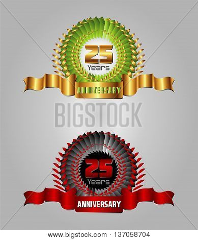 25 year anniversary golden label, 8th anniversary decorative red