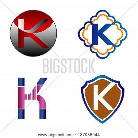 Set of Letter K logo icon template design vector