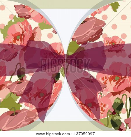 Vintage poppy floral Invitation Card with bow. Vector Retro card