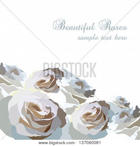 Watercolor blue Roses Flowers background. Vintage Watercolor Greeting Card with Blooming Roses. Vector Watercolor Roses for wedding invitation anniversary celebration events