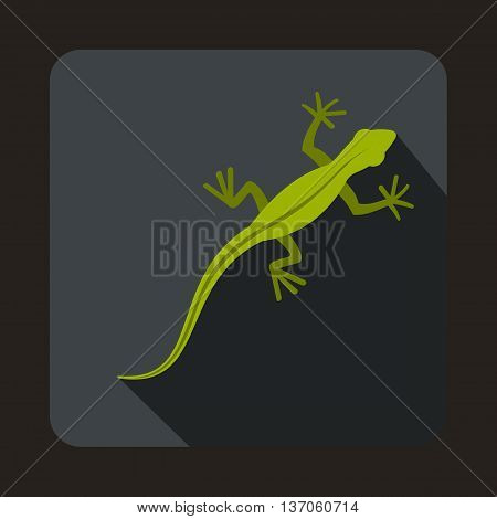 Lizard icon in flat style with long shadow. Reptiles symbol