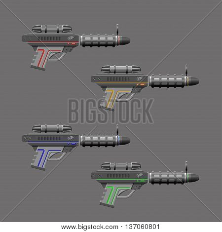 Video game weapon. Virtual reality device. Rifles set. Vector illustration
