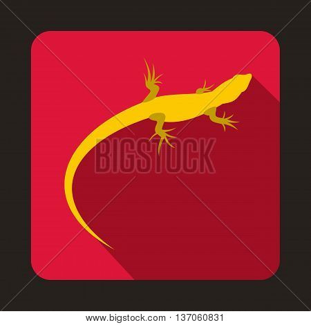 Yellow lizard icon in flat style with long shadow. Reptiles symbol