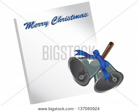 Merry Christmas letter or wish list with silver jingle bells and bow. Vector