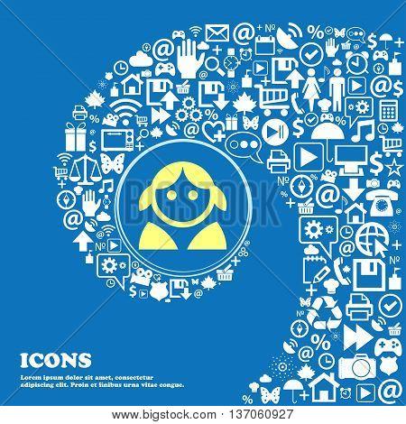 Female, Woman Human, Women Toilet, User, Login Sign Symbol. Nice Set Of Beautiful Icons Twisted Spir