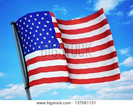 Flag USA and sky (done in 3d rendering)