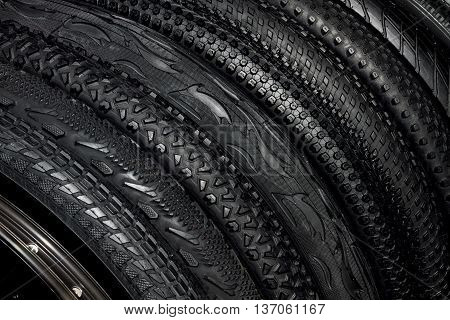 Black Rubber Tires Of Mountain Bikes For Outdoor Off-road Cycling