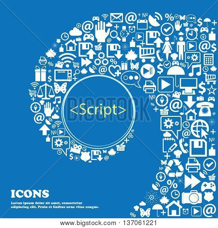 Script Sign Icon. Javascript Code Symbol . Nice Set Of Beautiful Icons Twisted Spiral Into The Cente