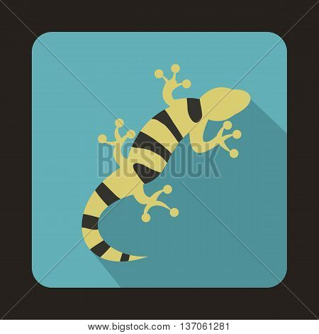 Striped lizard icon in flat style with long shadow. Reptiles symbol