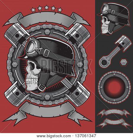 Vector Vintage Biker Emblem and Design Elements