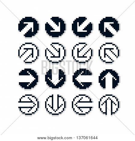 Vector flat 8 bit icons collection of simple geometric pixel symbols. Simplistic arrows set digital web signs.