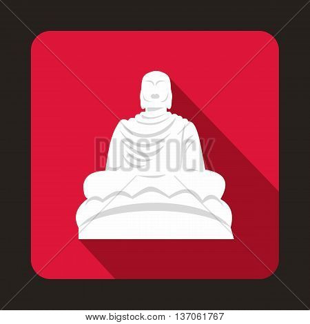 Buddha statue icon in flat style with long shadow. Monuments symbol