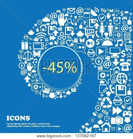 45 Percent Discount Sign Icon. Sale Symbol. Special Offer Label . Nice Set Of Beautiful Icons Twiste