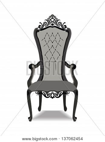 Elegant Baroque ornamented luxury armchair with soft fabric. Vector sketch