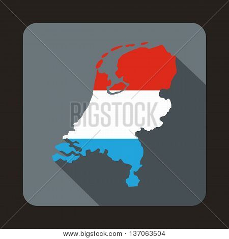 Map of Holland icon in flat style with long shadow. State symbol
