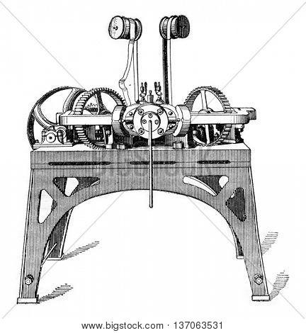 Machine screws, vintage engraved illustration. Industrial encyclopedia E.-O. Lami - 1875.