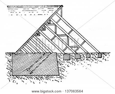 Dam of Ash Fork, vintage engraved illustration. Industrial encyclopedia E.-O. Lami - 1875.