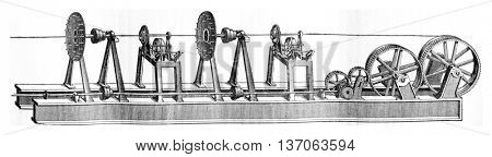Machine put the rope and coated, vintage engraved illustration. Industrial encyclopedia E.-O. Lami - 1875.