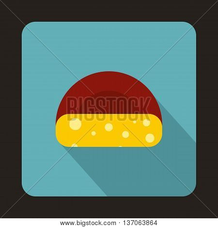 Dutch cheese icon in flat style with long shadow. Food symbol