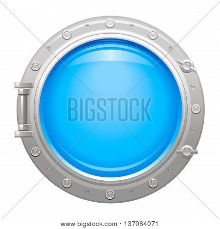 Porthole icon with silver metalic porthole and blue water in glass