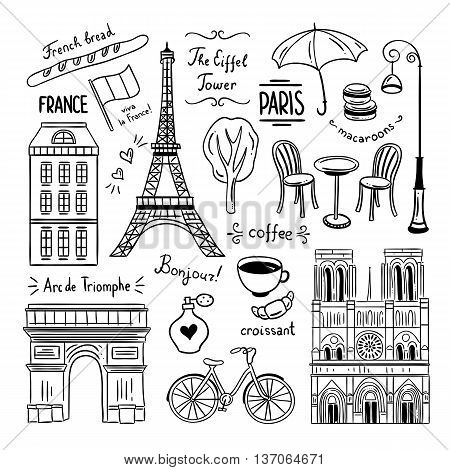 Paris France doodle clipart vector illustrations on white background