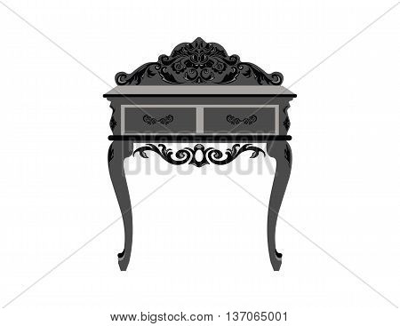 Elegant commode able with drawers. Baroque style luxury rich ornaments. Vector sketch