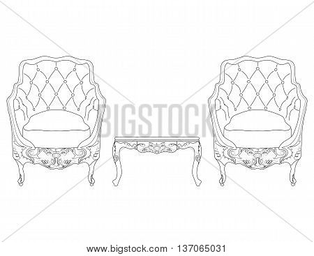 Elegant Baroque luxury ornamented furniture. Armchairs with soft fabric and coffee table. Vector sketch