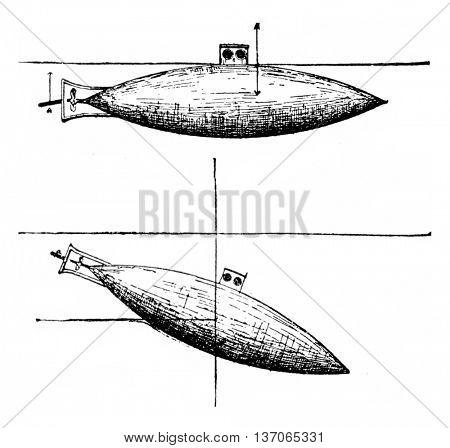 Action horizontal rudder, vintage engraved illustration. Industrial encyclopedia E.-O. Lami - 1875.