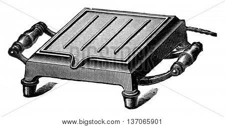 Electric grill, vintage engraved illustration. Industrial encyclopedia E.-O. Lami - 1875.