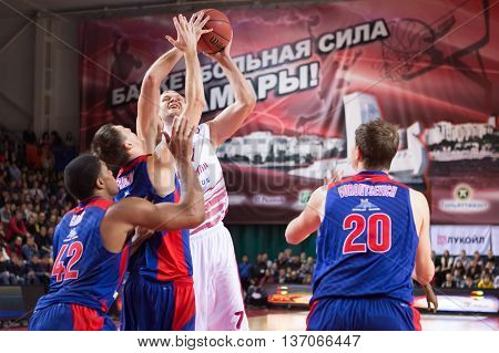 Bc Krasnye Krylia Guard Anton Ponkrashov (7) Tries To Make A Shot