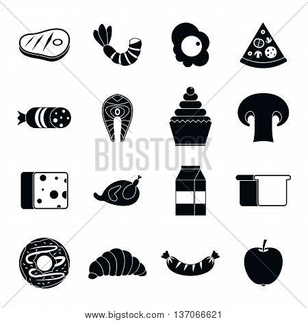 Food icons set in simple style isolated vector illustration