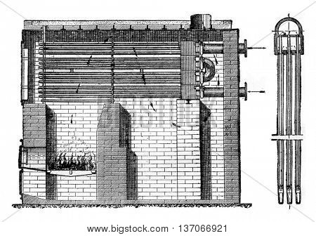 Superheater Uhler, vintage engraved illustration. Industrial encyclopedia E.-O. Lami - 1875.