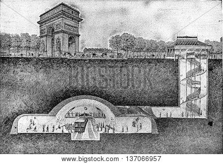 Metropolitan station under the Place de l'Etoile, vintage engraved illustration. Industrial encyclopedia E.-O. Lami - 1875.